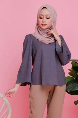 Linen Top Flair Sleeve Grey