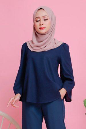 Linen Top Flair Sleeve Royal Blue