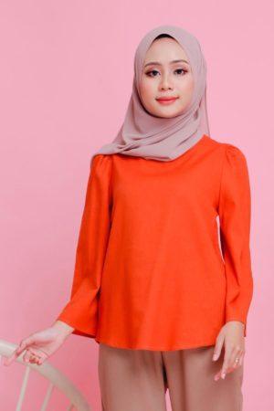 Linen Top Flair Sleeve Orange