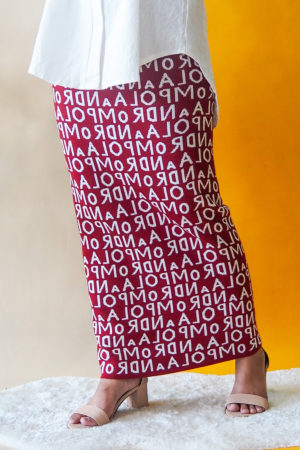 ALPHABET SKIRT IN MAROON