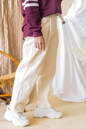 BELT TAPERED PANT IN WHITE