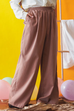 WIDE PALLAZO PANT IN BROWN