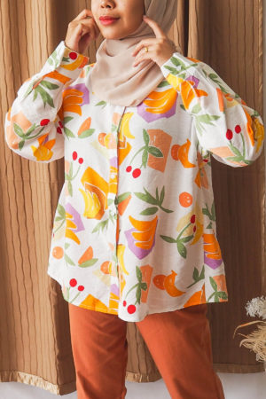 ANIMAL ABSTRACT TOP IN ORANGE