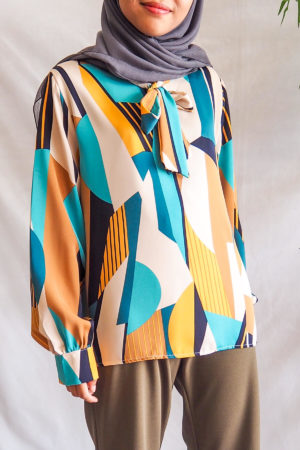 ABSTRACT TOP IN TURQUOISE