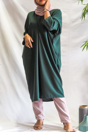 BAGGY LOOSE BLOUSE IN EMERALD GREEN