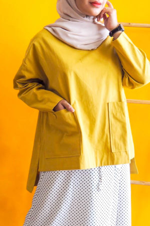 BAGGY POCKET TOP IN YELLOW