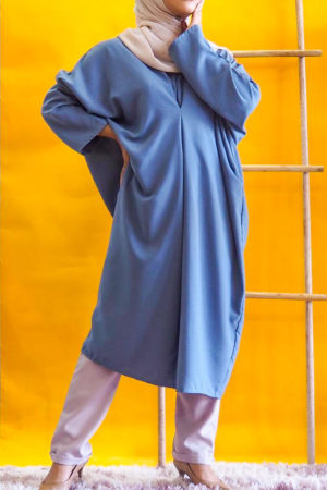 BAGGY LOOSE BLOUSE IN TEAL BLUE