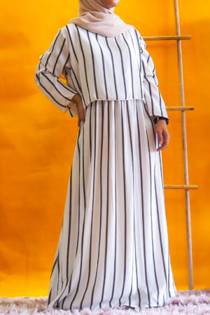 STRIPE CROPTOP DRESS IN WHITE