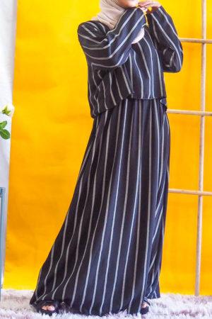 STRIPE CROPTOP DRESS IN BLACK