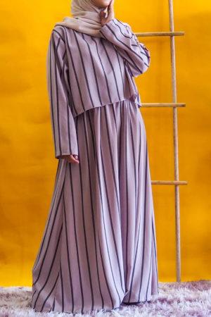 STRIPE CROPTOP DRESS IN DUSTY PURPLE