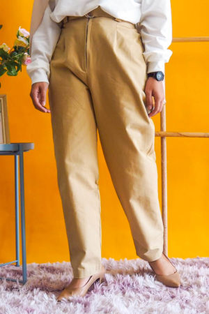ZIPPED COTTON PANT WITH BELT IN NUDE